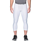 Under Armour Men's HeatGear Armour 2.0 Three Quarter Length Leggings (Regular and Big & Tall) in White/Graphite