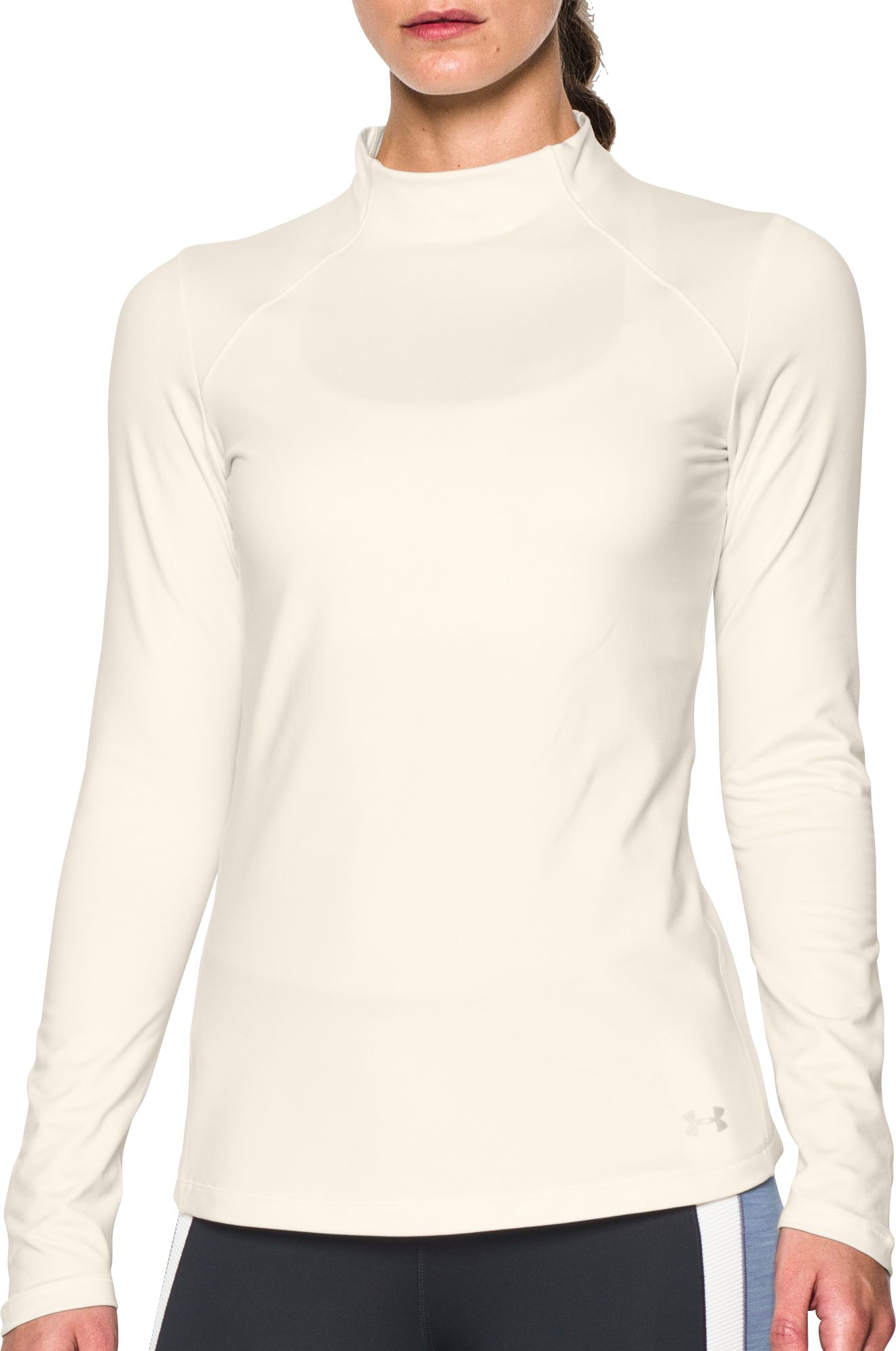 Under Armour Women's ColdGear Armour Mockneck Long Sleeve Shirt, Size: Medium, Ivory thumbnail