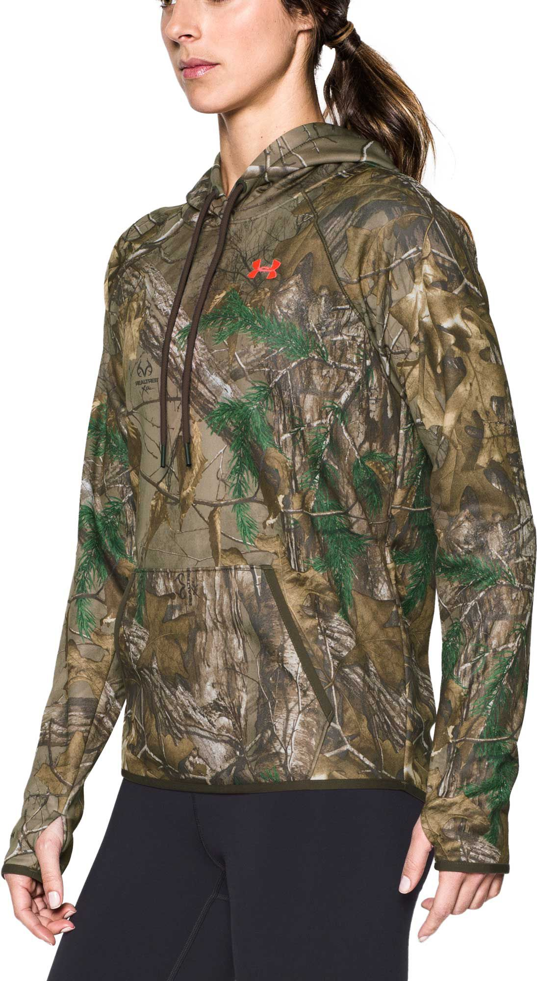 Under Armour Women's Icon Camo Hoodie, Size: Large, Green thumbnail