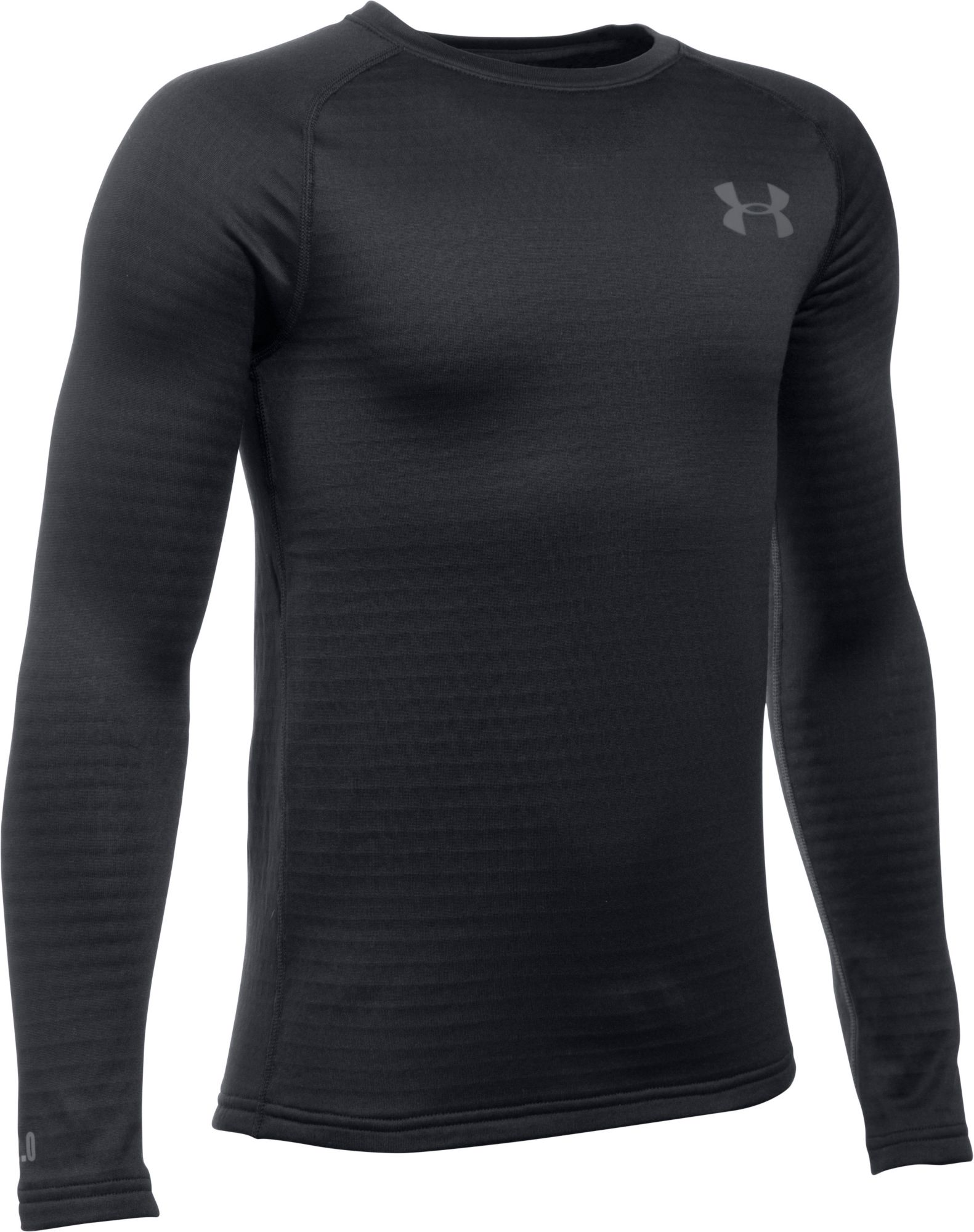 Under Armour Youth Base 2.0 Crew Long Sleeve Shirt, Kids Unisex, Size: Small, Black thumbnail