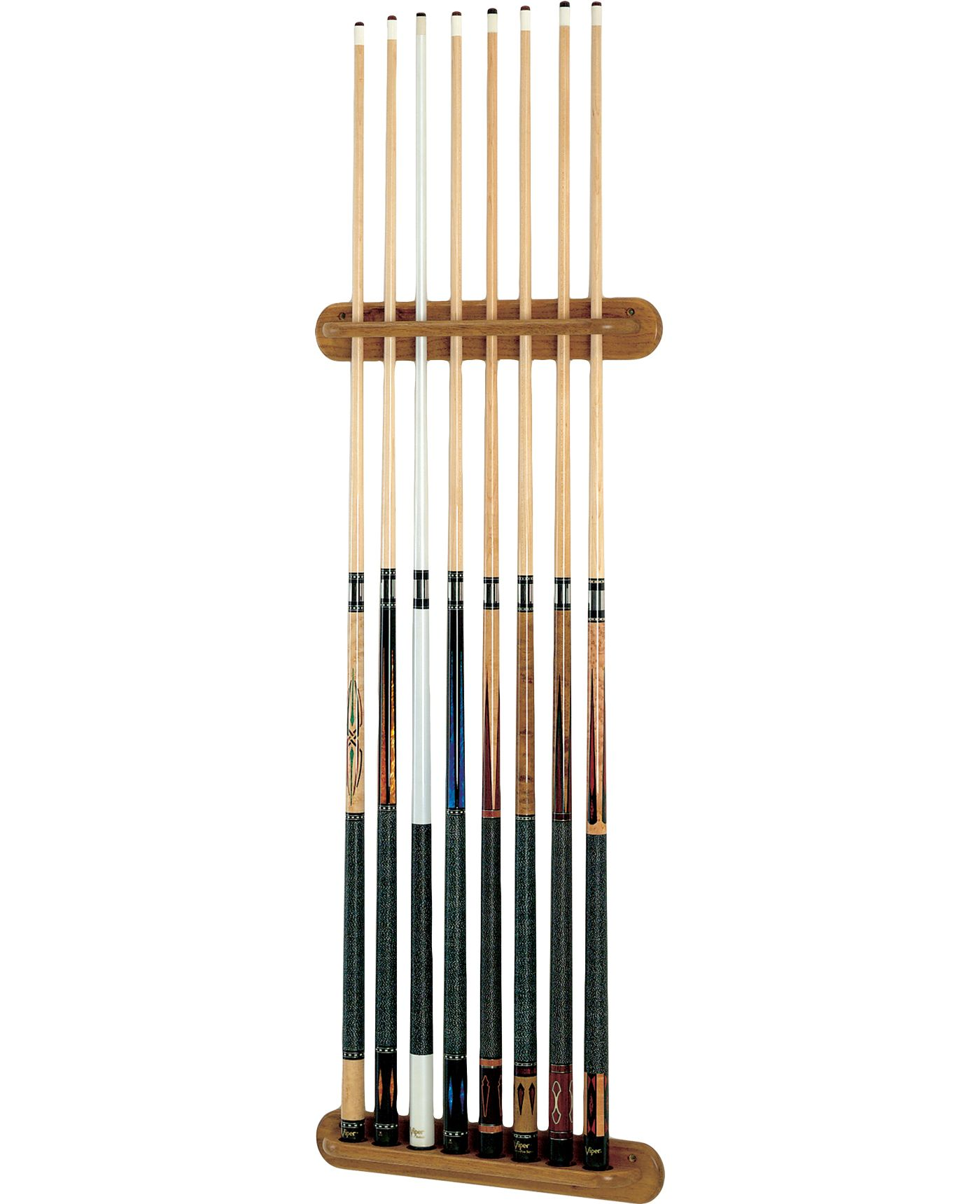 Viper Traditional Eight Cue Oak Wall Cue Rack