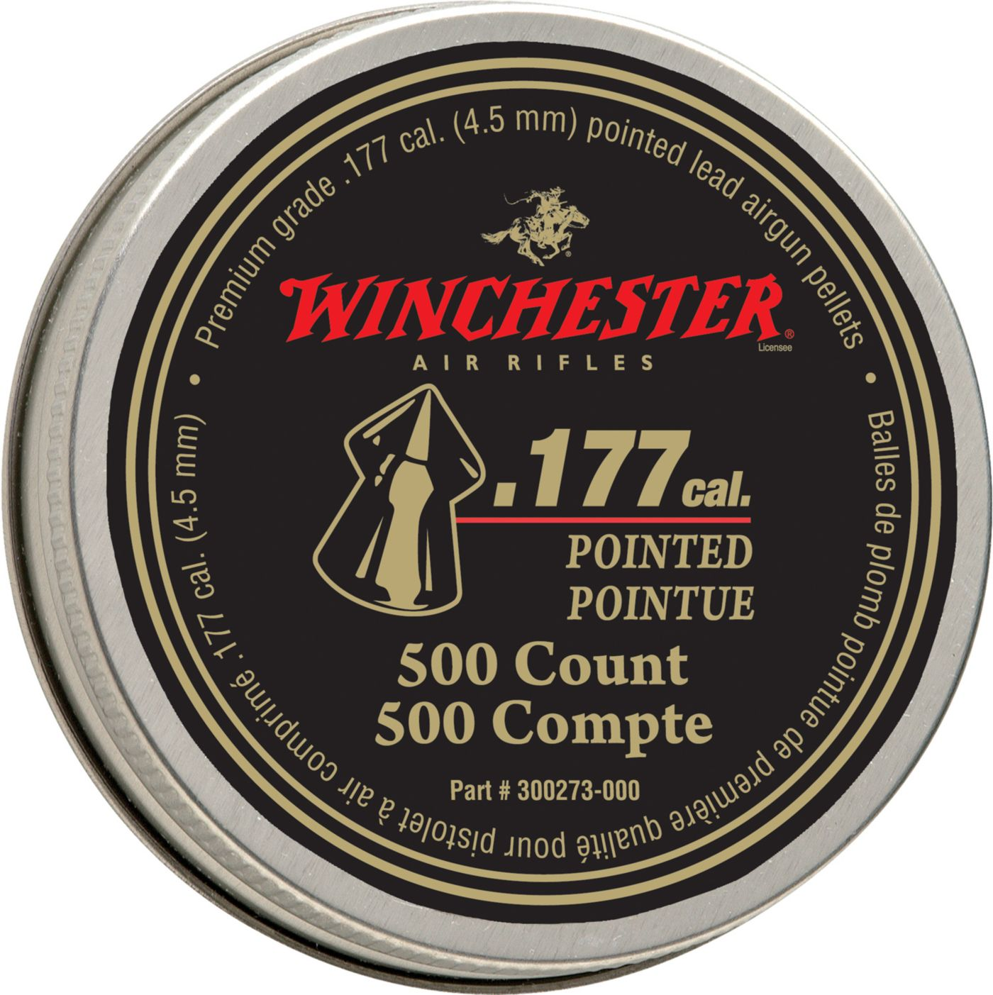 Winchester Pointed .177 Caliber Field Pellets - 500 Count