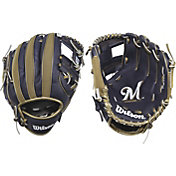 "Wilson 10"" A200 Milwaukee Brewers T-Ball Glove"