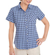 Woolrich Women's Tall Pine Seersucker Button Down Short Sleeve Shirt