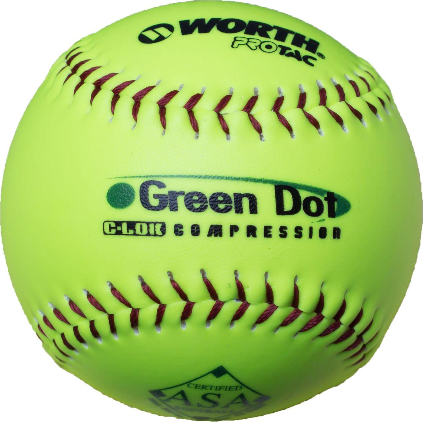 """Worth 11"""" ASA Green Dot Slow Pitch Softball"""