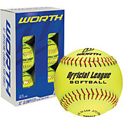 "Worth 12"" Official League Slow Pitch Softballs - 6 Pack"