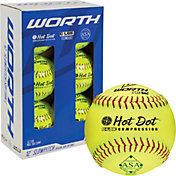 "Worth 12"" ASA Hot Dot Slow Pitch Softballs - 6 Pack"
