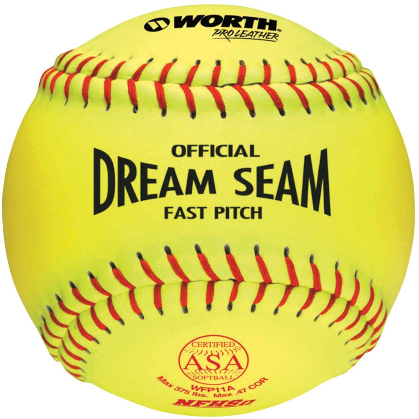 """Worth 11"""" ASAH/NFHS Official Dream Seam Fastpitch Softball"""