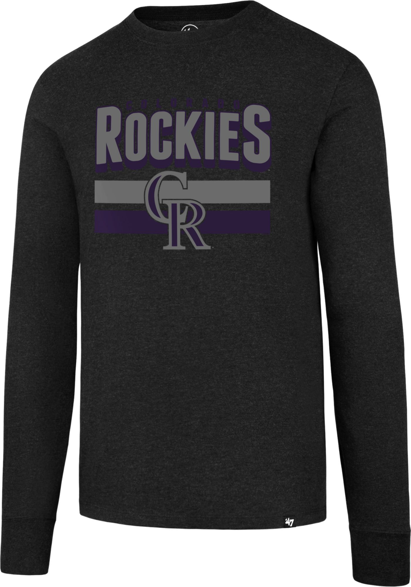 '47 Men's Colorado Rockies Club Black Long Sleeve Shirt
