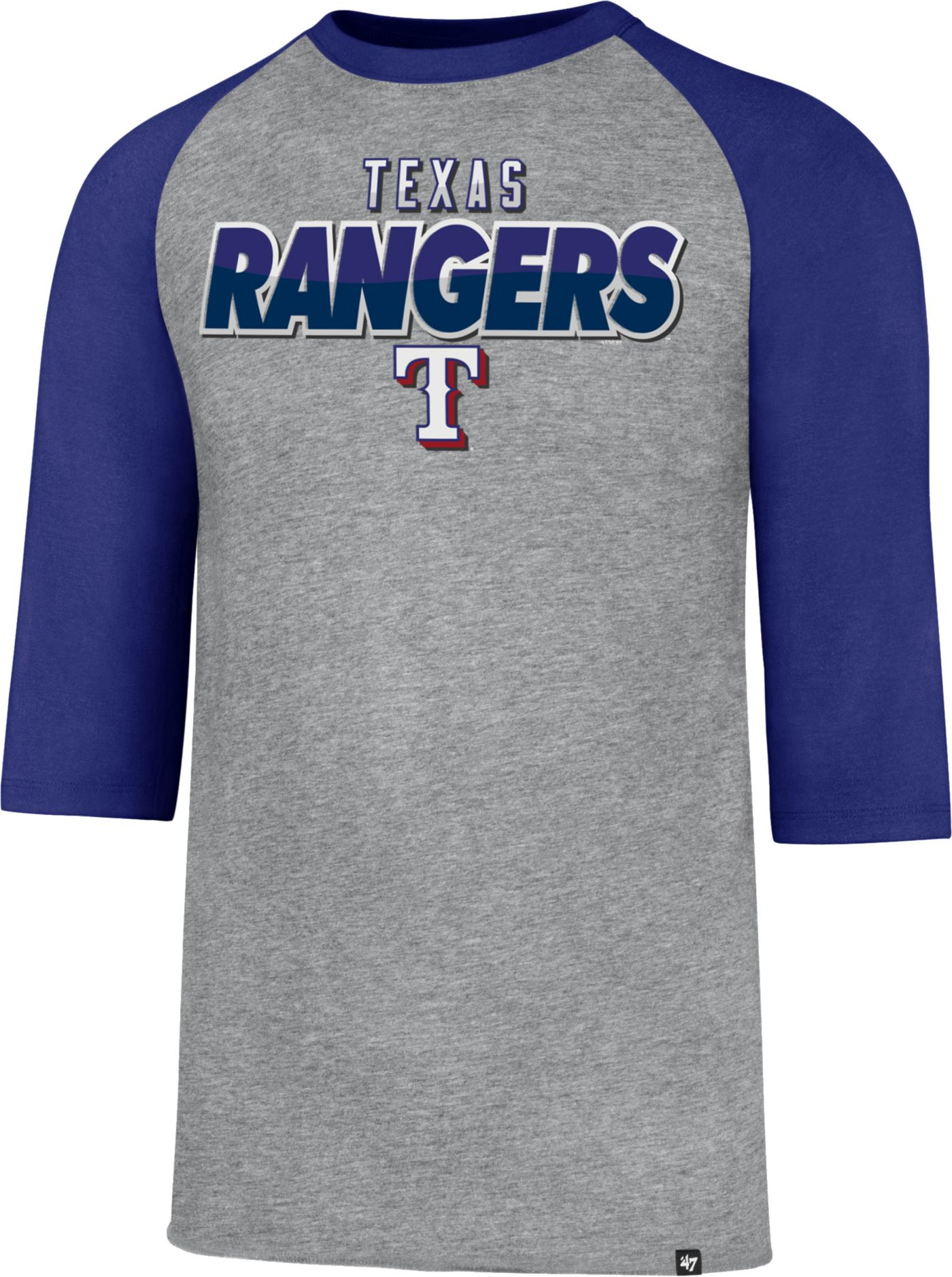 '47 Men's Texas Rangers Club Grey Three-Quarter Sleeve Shirt