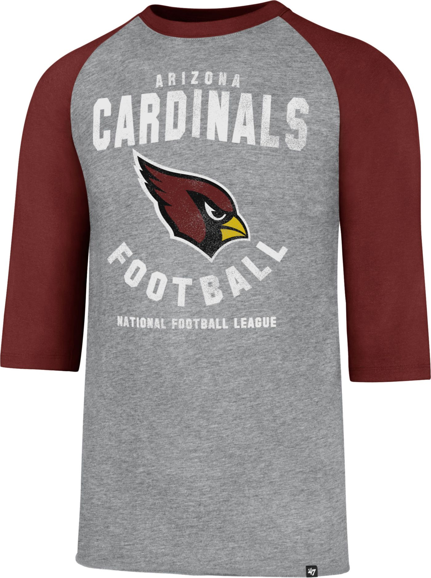 '47 Men's Arizona Cardinals Club Legacy Grey Raglan T-Shirt