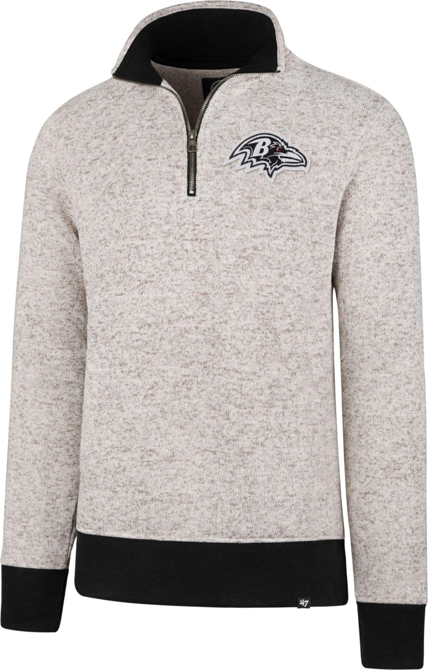 '47 Men's Baltimore Ravens Kodiak Quarter-Zip Grey Top
