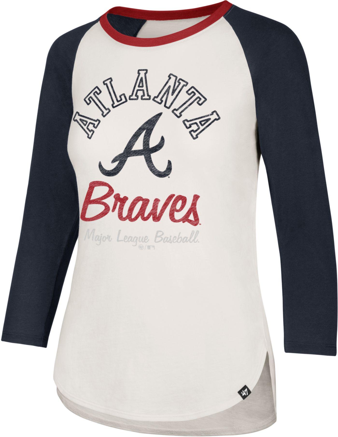 '47 Women's Atlanta Braves Splitter Raglan Three-Quarter Sleeve Shirt