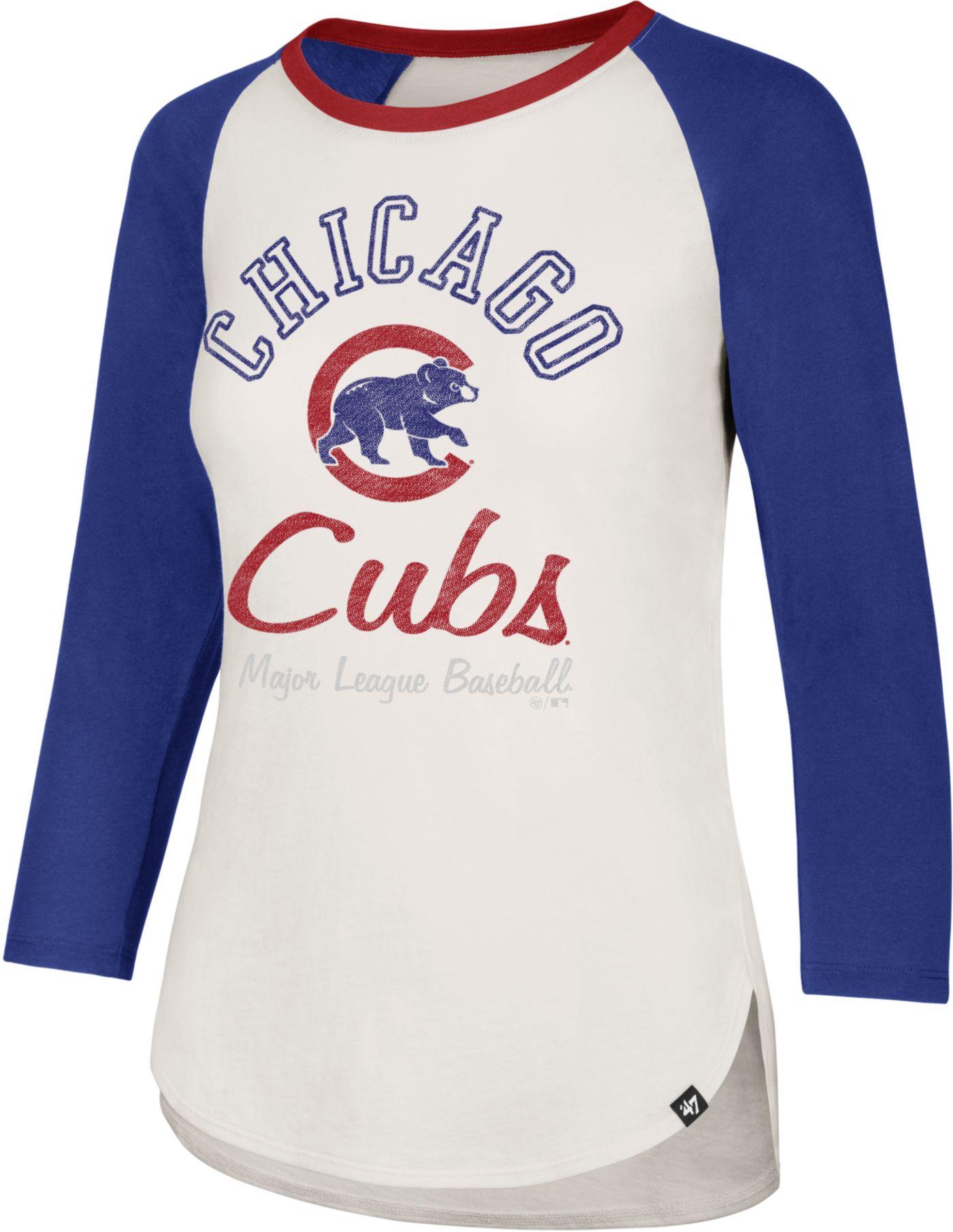 '47 Women's Chicago Cubs Splitter Raglan Three-Quarter Sleeve Shirt