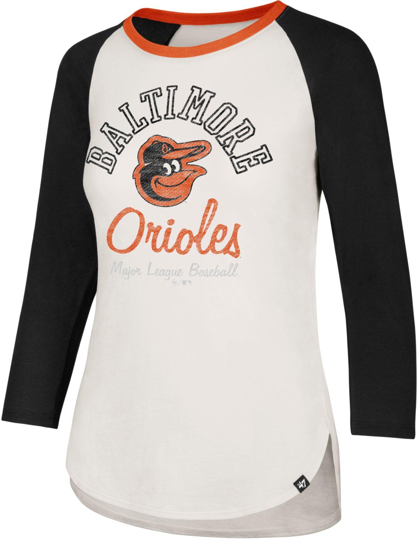 '47 Women's Baltimore Orioles Splitter Raglan Three-Quarter Sleeve Shirt