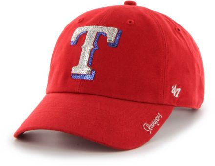 sports shoes fe4e7 bb277  47 Women  39 s Texas Rangers Sparkle Clean Up Red Adjustable Hat.