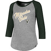 '47 Women's Milwaukee Bucks Club Grey/Green Three-Quarter Sleeve Shirt
