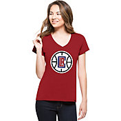 '47 Women's Los Angeles Clippers Splitter Logo Red V-Neck T-Shirt