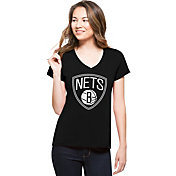 '47 Women's Brooklyn Nets Splitter Logo Black V-Neck T-Shirt