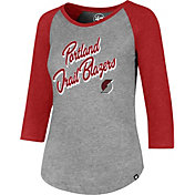 '47 Women's Portland Trail Blazers Club Grey/Red Three-Quarter Sleeve Shirt