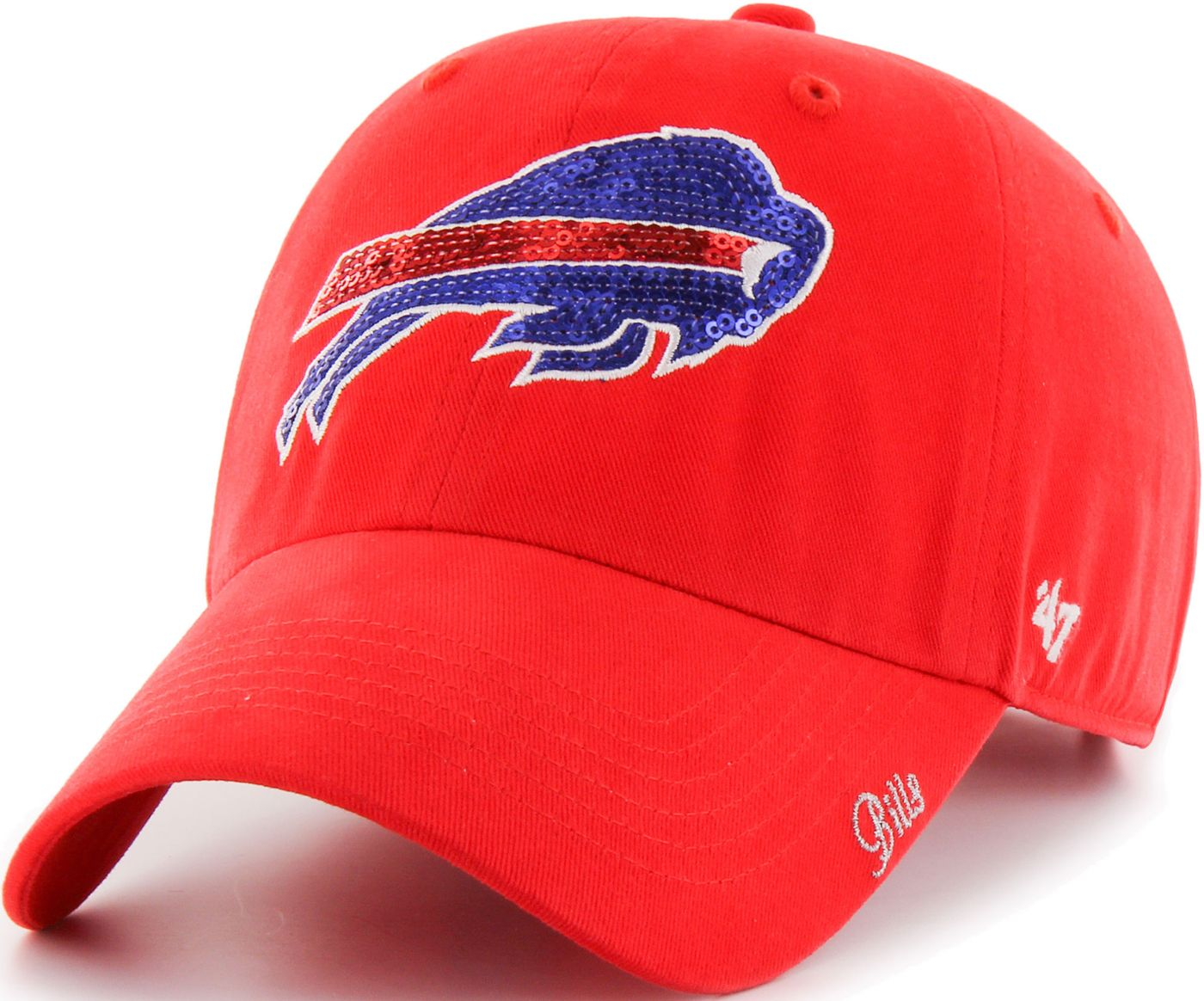 '47 Women's Buffalo Bills Sparkle Clean Up Red Adjustable Hat