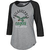 '47 Women's Philadelphia Eagles Grey Raglan Shirt