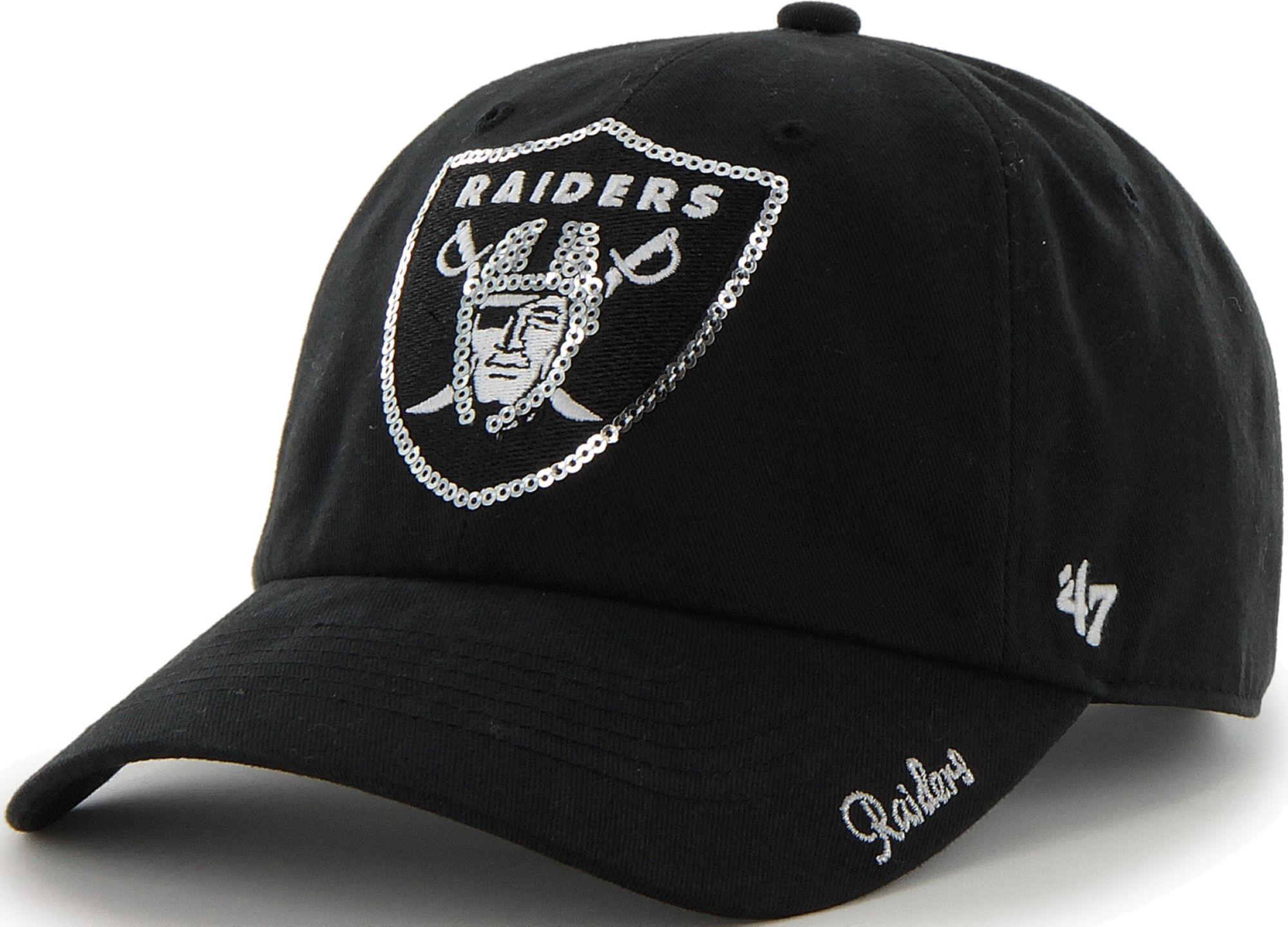 best cheap b0d41 dae12 ... order 47 womens oakland raiders sparkle logo black adjustable hat bd767  3d307