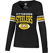 '47 Women's Pittsburgh Steelers Club Stripe Black Long Sleeve Shirt