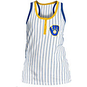New Era Women's Milwaukee Brewers Pinstripe White Tank