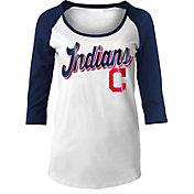 New Era Women's Cleveland Indians White/Navy Three-Quarter Sleeve Shirt