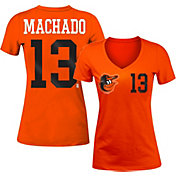 New Era Women's Baltimore Orioles Manny Machado #13 Orange Tri-Blend V-Neck T-Shirt