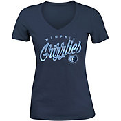 New Era Women's Memphis Grizzlies Navy Tri-Blend V-Neck T-Shirt