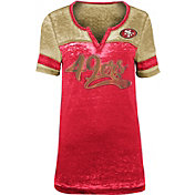 NFL Team Apparel Women's San Francisco 49ers Foil Burnout V-Neck T-Shirt