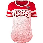 NFL Team Apparel Women's San Francisco 49ers Space Dye Rhinestone T-Shirt