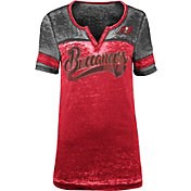 NFL Team Apparel Women's Tampa Bay Buccaneers Foil Burnout V-Neck T-Shirt