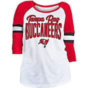 NFL Team Apparel Women's Tampa Bay Buccaneers Glitter Slub White Raglan Shirt