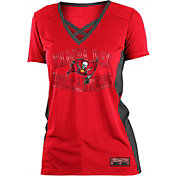 NFL Team Apparel Women's Tampa Bay Buccaneers Mesh Lace Red T-Shirt