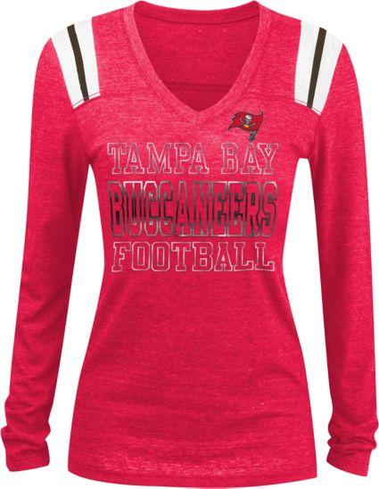 NFL Team Apparel Women s Tampa Bay Buccaneers Tri-Blend Foil Red ... 42b13e2387e
