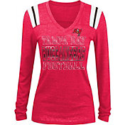 NFL Team Apparel Women's Tampa Bay Buccaneers Tri-Blend Foil Red Long Sleeve Shirt