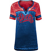 NFL Team Apparel Women's Buffalo Bills Foil Burnout V-Neck T-Shirt