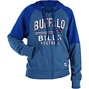 NFL Team Apparel Women's Buffalo Bills Glitter Tri-Blend Fleece Full-Zip Hoodie