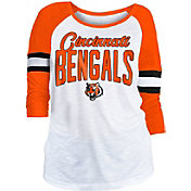 NFL Team Apparel Women's Cincinnati Bengals Glitter Slub White Raglan Shirt