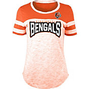 NFL Team Apparel Women's Cincinnati Bengals Space Dye Rhinestone T-Shirt