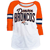 NFL Team Apparel Women's Denver Broncos Glitter Slub White Raglan Shirt