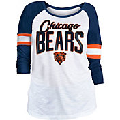 NFL Team Apparel Women's Chicago Bears Glitter Slub White Raglan Shirt
