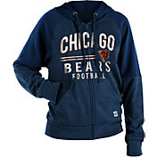 NFL Team Apparel Women's Chicago Bears Glitter Tri-Blend Fleece Full-Zip Hoodie