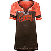 NFL Team Apparel Women's Cleveland Browns Foil Burnout V-Neck T-Shirt