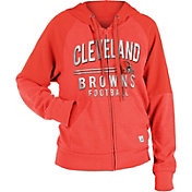 NFL Team Apparel Women's Cleveland Browns Glitter Tri-Blend Fleece Full-Zip Hoodie