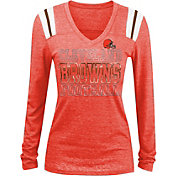 NFL Team Apparel Women's Cleveland Browns Tri-Blend Foil Orange Long Sleeve Shirt