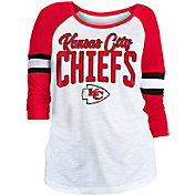NFL Team Apparel Women's Kansas City Chiefs Glitter Slub White Raglan Shirt